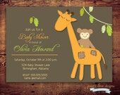 Printable Jungle gender neutral baby shower (digital file) DIY Printing at home or your choice of printer