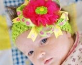 baby hair bow... ribbon  flower hairbow ...infant headband...pink/yellow/green hair bow... newborn, toddler and little girls..head band