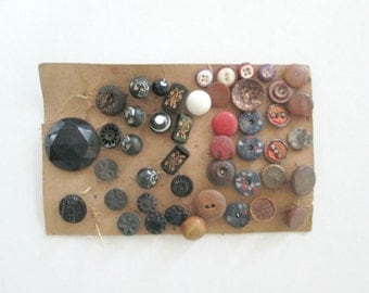 Antique Vintage Buttons Card Assorted Shapes Sizes 1920s 1930s 1940s Art Deco Steampunk