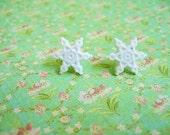 White Snowflake Earrings, White Jewlery, White Earrings, Holiday Jewelry