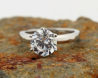 1.25ct to 1.50ct  Forever Brilliant Moissanite Solitaire  Engagement Ring in 14K White Gold  - Gem *******Specail  For  You******
