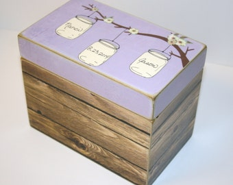 Wedding Guest Book Box, Mason Jars on a Tree Branch, Personalized Box, 4x6 Recipe Box, Handmade 4 x 6 Wood Box, Wedding Guest Book Box