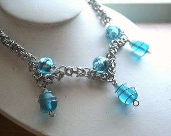 Blue Sky Byzantine Chainmaille Necklace