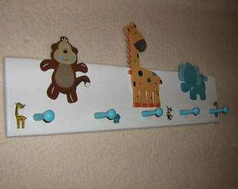 "Little tykes ""jungle animals"" coat rack in blue (convo me for your colors)"
