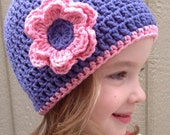 Purple Crochet Flower Hat - Child Size ready to ship
