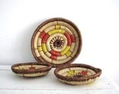 Vintage Baskets - Rustic Storage - African Handwoven Coil Baskets - Yellow and Red