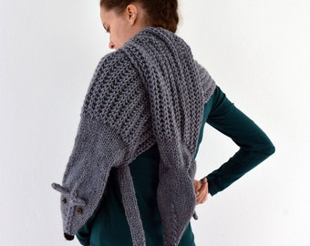 Hand knit long fox scarf, fox stole in grey with polymer clay buttons