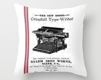 Throw Pillow Cover - Old Typewriter with/without Stripes Vintage Ephemera - 16X16, 18X18, 20X20 - Pillow Case Design Home Décor by Adidit