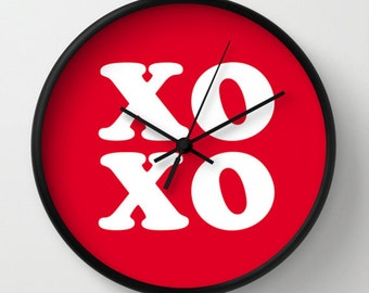 XOXO Wall Clock - Typography Hugs and Kisses Wall Clock - Red and White - Original Design - Home decor by Adidit