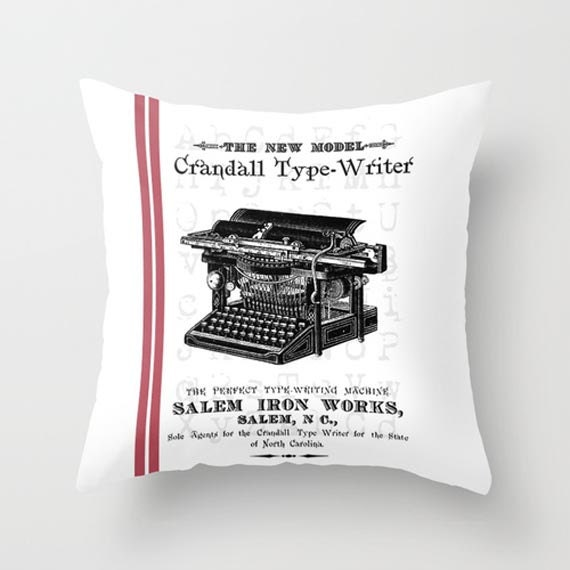 Throw Pillow Cover Old Typewriter with/without Stripes