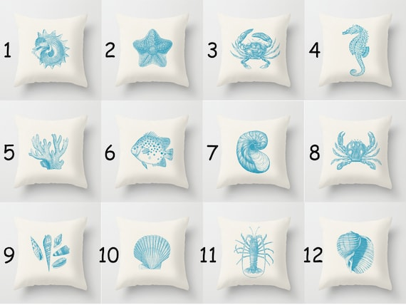 Throw Pillow Cover 17% Off Seashells Beach House - Blue Off-White - 16x16, 18x18, 20x20 - Original Design Pillow Case Home Décor by Adidit