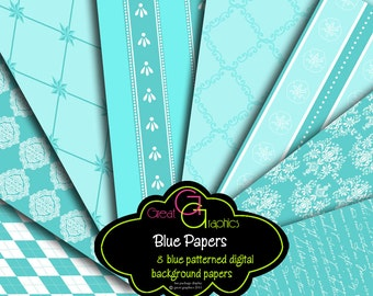 Printable Wedding Paper Blue Paper Digital Paper Wedding Digital Printable Paper Blue Damask Printable Paper - Instant Download