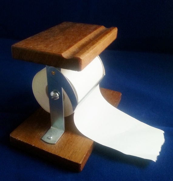 Wooden note paper holder adding machine tape country store