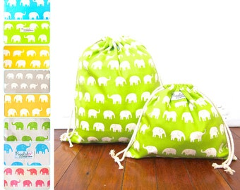 Set of 2 Drawstring Bags / Library Bag - Elephant (Choose Your Colors)