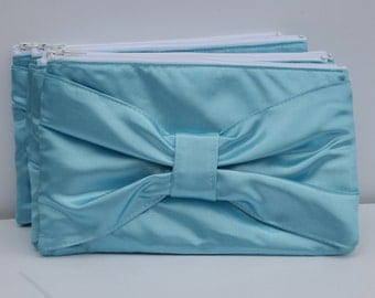 Light Blue Satin Bow Clutch Formal Evening Bridesmaids Zipper Clutches