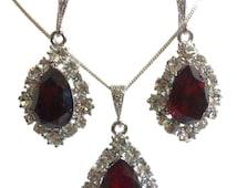 Red Siam Jewelry Set, January Birthstone Dangle Earrings, Swarovski Crystal Teardrop Necklace, BIJOUX