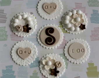Fondant Victorian Lace Monogram, Initials, Flower and Pearl Toppers for Decorating Engagement, Shower or Wedding Cupcakes