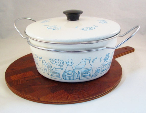 Mid Century Modern Oven ~ Mid century modern dutch oven casserole pot enamelware by