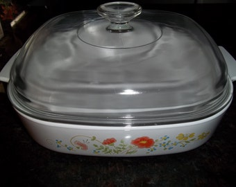Wildflower, Corning Ware A-10-B, 2 1/2 Quart/ 2 1/2 Liter Casserole Dish with Pyrex Lid