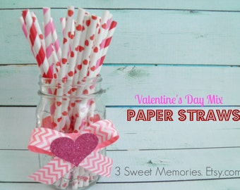 Valentines Mix Paper Straws- Pack of 25