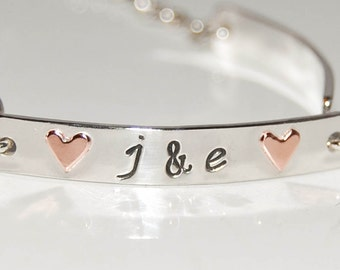 Family of four bracelet - Personalized Silver Bracelet, silver and copper bracelet, custom heart bracelet, copper heart bracelet