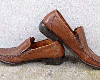 Vintage Oxford Shoes Leather Brogues Loafers Pointy Shoes Brown Leather Shoes Size 37.5 Eur 4.5 UK 7 US
