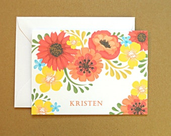 Personalized Stationery Set / Personal Stationery, Orange and Yellow Vintage Flowers, 25-Count