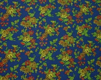 "Nice Vintage Cotton Fabric, Colorful Floral, Waffle Weave, 2 Yards 30"", 44"" Wide"