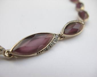 Antique Monet amethyst glass bracelet, rhinestone bracelet, gold and purple glass bracelet, antique bracelet, purple wedding jewelry