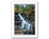 Nature Note Card with Envelope, Scenic Appalachian Mountain Waterfall Photo Card, Note Card is blank inside, notecards