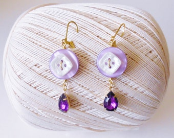 Purple Buttons Dangle Earrings, Lavender White & Gold, Rhinestone charms, Royal purple