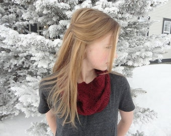 Hand Knit Frosted Flowers Lace Pattern Cowl Infinity Scarf Neck Warmer in Burgundy Red Color With Merino Wool and Bamboo Blend Yarn