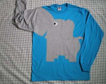 Elephant shirt elephant trunk sleeve elephant t shirt TURQUOISE UNISEX small