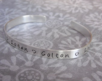 Sterling Silver Cuff Bracelet with Stamped Names Sterling Silver Gift for Mother Grandmother