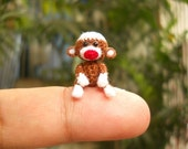 Mini Sock Monkey 1 Inch - Tiny Crochet Amigurumi Stuffed Animal - Made To Order