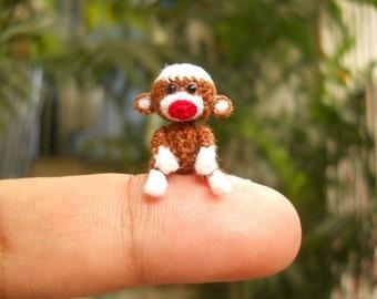 Mini Sock Monkey 1 Inch - Tiny Crochet Amigurumi Stuffed Animal - Made To Order