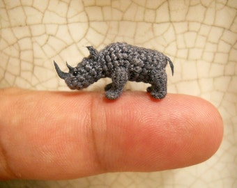 Rhino - Micro Crochet Stuffed Tiny Animal - Made To Order