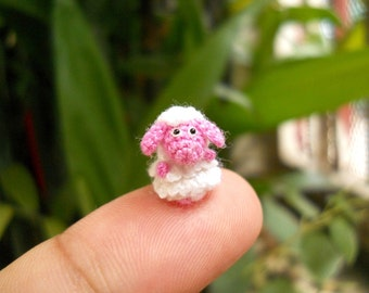 Cute Miniature Pink Sheep - Micro Crochet Tiny Sheep - Made to Order