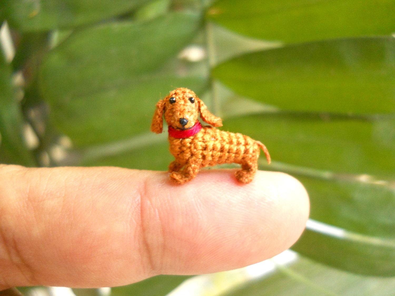 Amigurumi Little Animals : Mini Dachshund Stuff Animal Tiny Crochet Animal Miniature