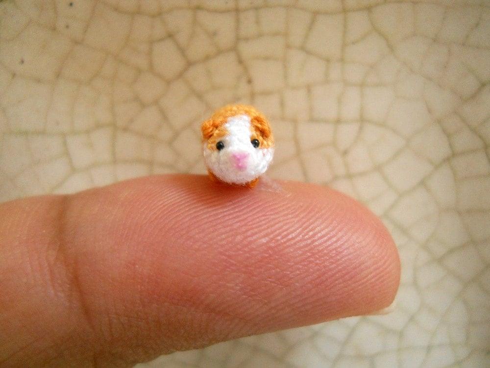 Crochet Amigurumi Guinea Pig : Micro Mini Guinea Pig Amigurumi Tiny Crochet Dollhouse