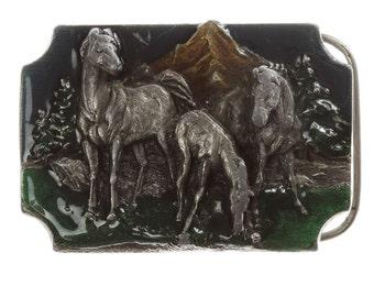 Horse Belt Buckle | Equestrian Vintage Belt Buckle for Leather Belt | Siskiyou Buckle Co Oregon Mountain Enamel Belt Buckle BB13