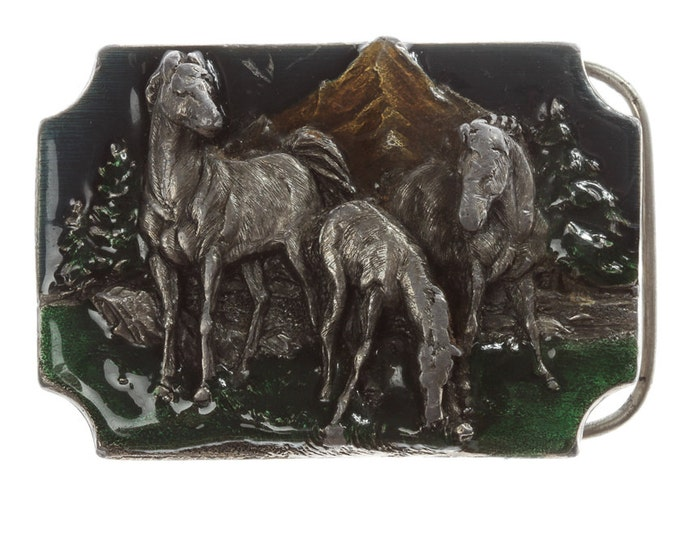 Horse Belt Buckle | Equestrian Vintage Belt Buckle for Leather Belt | Siskiyou Buckle Co Oregon Mountain Enamel Belt Buckle BB13
