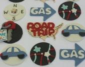 12 Fondant cupcake toppers--Road trip