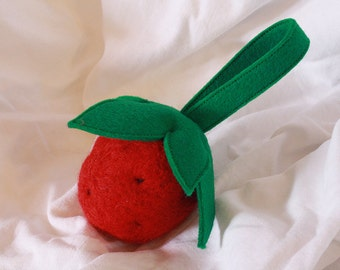 felted strawberry baby rattle