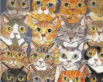 "Cat art,  5"" x 5"" blank card"