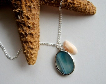 Ocean Teal Blue Agate Slice and Real Seashell Necklace - Enchanted Petite - beach, shell, Summer necklace, agate jewelry, modern, eco, ooak