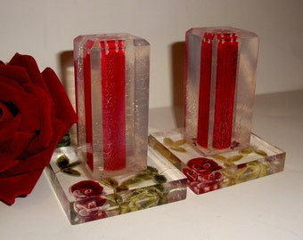 Vintage 50's Lucite Red ROSES Salt & Pepper Shakers Collectible Decor