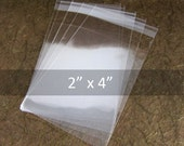 "100 Resealable Acid Free Poly Cello bags 2"" x 4"" (5x10cm)"