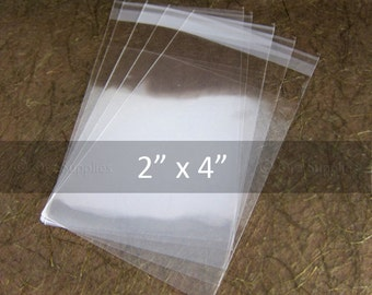 """Clear Cello bags, Wedding Favor Bags, jewelry packaging, cookie bags, candy bags, self adhesive bags, 100 pcs 2"""" x 4"""" (5x10cm)"""