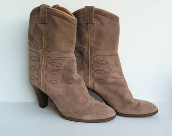 Suede Bootie - Vintage Bootie - Suede Boots - Boho Chic Boots - Nickels Boots - High Heel Boots